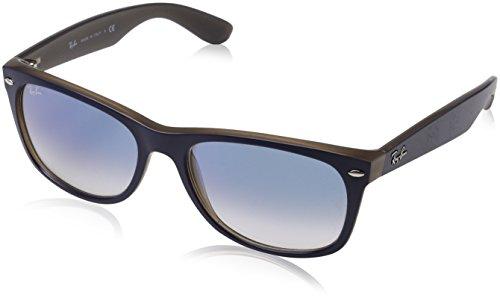 Ray-Ban Men's New Wayfarer Square Sunglasses, Matte Blue on Opal Brown, 58 - Brown Matte Ban Ray Wayfarer