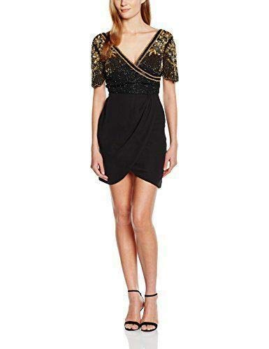Virgos Lounge Black Gold Embellished Frill Cocktail Nene Party Dress 8 To 14 New