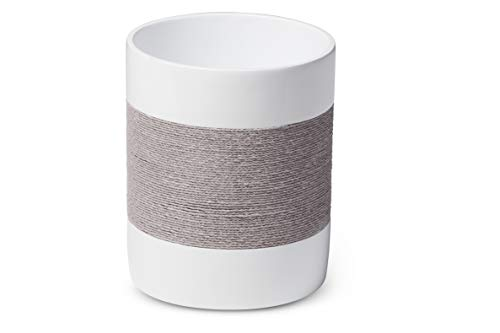 (Roselli Trading Company Castaway Gray Collection Wastebasket, One Size, Resin/Jute)