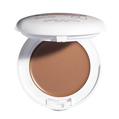 Eau Thermale Avene High Protection Honey Tinted Compact, Broad Spectrum SPF 50+, UVA/UVB Blue Light Protection, Water Resistant, Non-Greasy, .35 oz