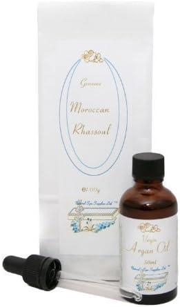 Arcilla De Rhassoul 100 g y Aceite De Argán Orgánico 50ml, con vidrio pipeta: Kit De Cuidado Facial Básico