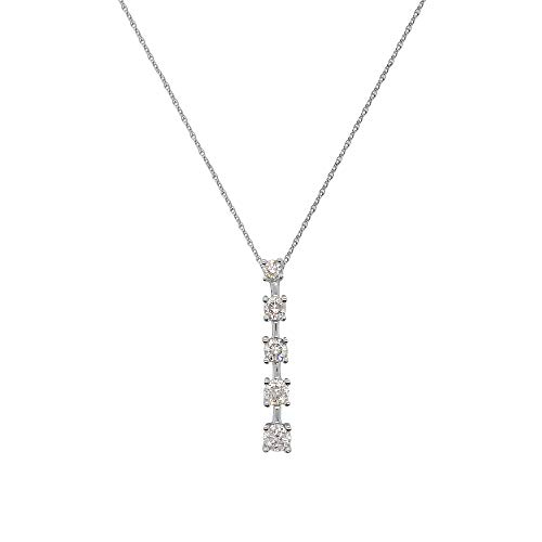 TriJewels Round AGS Certified Diamond Journey Pendant (SI1-SI2, F-G) 1/2 ctw 14K White Gold with 18 inches 14K Gold Chain