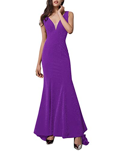 ALAGIRLS Women V Neck Long Mermaid Evening Dress Patchwork Formal Prom Gowns Purple US26Plus