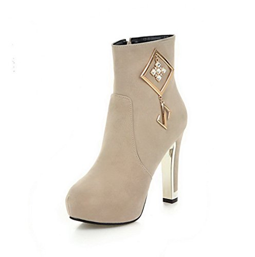 AgooLar Women's Round Closed Toe High-Heels Frosted Low-top Solid Boots Beige