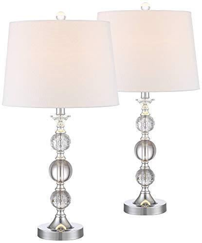 Solange Modern Table Lamps Set of 2 Stacked Crystal Ball Silver White Drum Shade for Living Room Family Bedroom Bedside – 360 Lighting