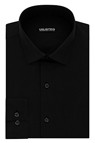 Kenneth Cole REACTION Unlisted by Men's Slim Fit Solid Spread Collar Dress Shirt, Black, 15