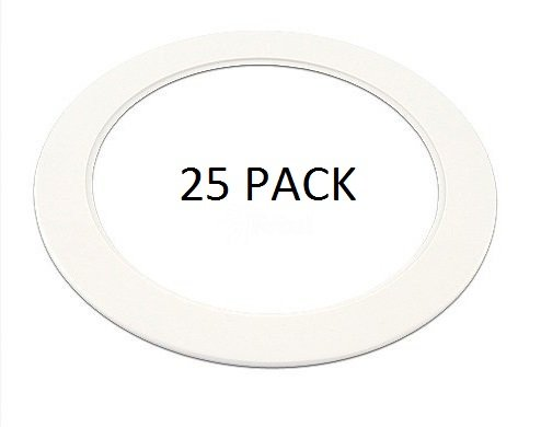 (25 Pack-White Light Trim Ring Recessed Can 6