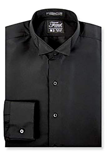Luxe Microfiber Men's Fitted Wing Collar Convertible Cuff Tuxedo Shirt - Style Frankie Black