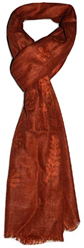 100% Pure Flax Linen, Kantha Hand Embroidered Gauze Scarf, (Burnt Orange). X2197