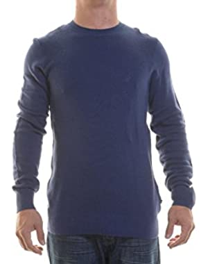 Sweater Crew Neck Blue Knitted 100% Cotton New Men's Sweater