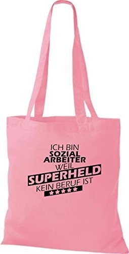 Borsa di stoffa SONO sozialarbeiter, WEIL supereroe NESSUN lavoro è - rosa, 38 cm x 42 cm