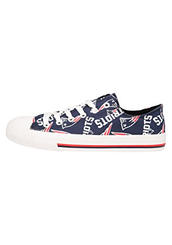 FOCO New England Patriots NFL Womens Low Top Repeat Print Canvas Shoe - Size 9 ()