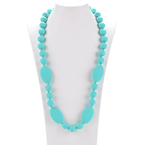 Consider It Maid Silicone Teething Necklace for Mom to Wear - Free E-Book - BPA Free and FDA Approved - Peas in a Pod (38 Inch Length, Turquoise)