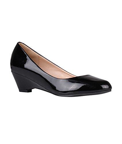 Krisp Womens Plain Zeppa Scarpe Basse Basse Alte Tacco Slip On Pumps Office Black (5601)