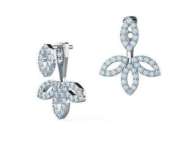 72635bc91707 Forever Diamond - Pendientes de tuerca redondos de 14 K de color blanco  sólido para mujeres y niñas