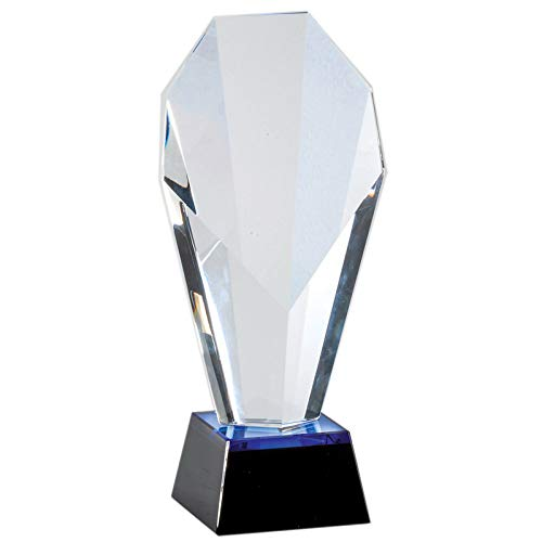 Customizable 9-1/4 Inch Optical Crystal Slanted Face Tower Award on Black Base with Blue Accents, Includes Personalization ()