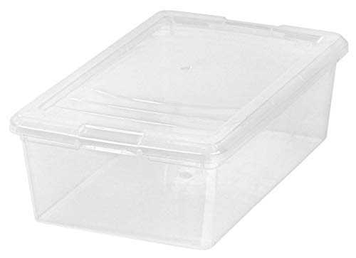 IRIS 6 Quart Modular Storage Box, 10 Pack, Clear Clear Flat Square Lid