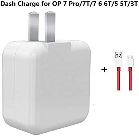 Oneplus 6 6t 7 Cable and Charger, Dash Type C USB Data Cable and Dash USB Power Charger AC Wall Adapter for One Plus 6 3T 3 5t 5 6t 7 pro