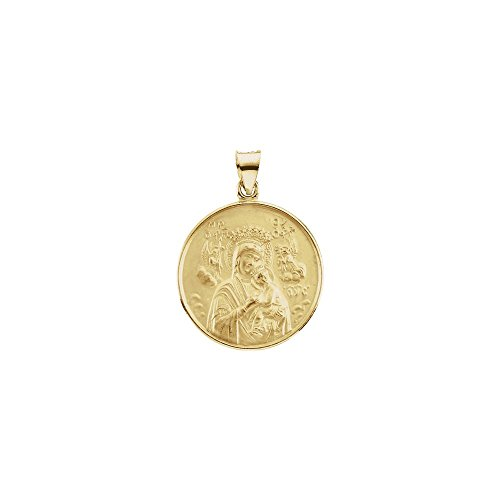 18K Yellow 13mm Our Lady of Perpetual Help Medal 18k Religious Medal