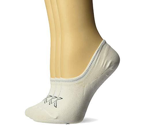 Calvin Klein Women's 3 Pack Cotton Logo Sneaker Liner Socks (Shoe Size: 6-9.5, White 3 Pair)