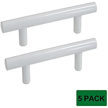 """Probrico Modern Cabinet Hardware Cupboard Handle Pull White Kitchen Cabinet T Bar Knobs - 12mm Diameter - 3"""" Hole Spacing - 5 Pack"""