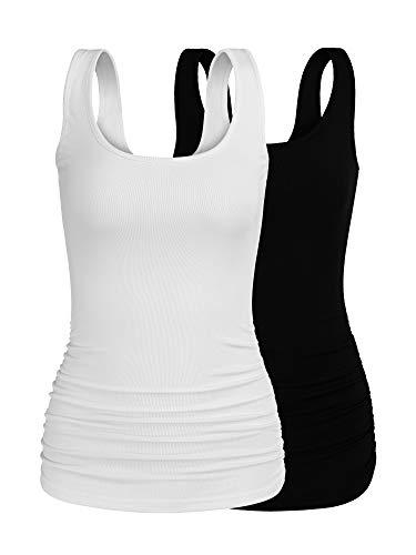 (Missufe Women's Cold Shoulder Crew Neck Slim Fit Ruched Tops (Black/White-01, X-Large))
