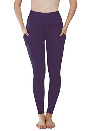 HISKYWIN Women High Waist Yoga Pants, Tummy Control, Workout Pants 4 Way Stretch Yoga Leggings with Pockets Dark Purple-M