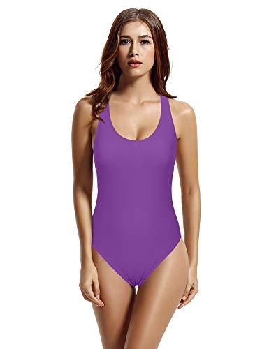 (zeraca Women's Retro Raceback One Piece Swimsuit Bathing Suit (M10, Purple Hebe))