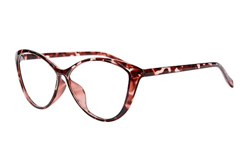 Ladies Cateye Glasses Frames Blue Blocking Clear Lens Computer Reading Glasses-5865(demi red, anti blue light up 0 down - Women For Face Glasses Round