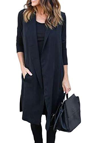 フェロー諸島指令主FRPE 女性ベストジャケット固体ポケットノースリーブオープンフロントトレンチコート