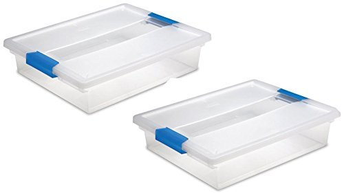 STERILITE 19638606 Large Clip Box - Clear with Blue Aquarium Latches 2 pack (2-Pack - Large)