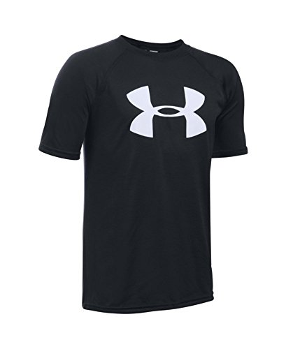 Under Armour Boys' Tech Big Logo Short Sleeve T-Shirt, Black/White, Youth Large