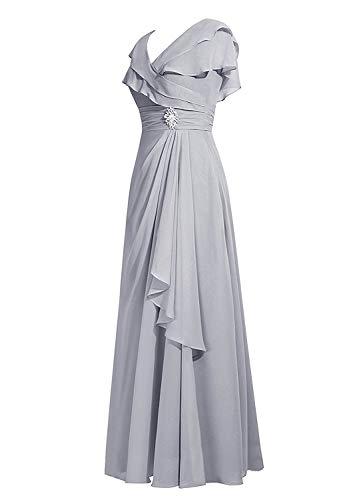 Asbridal Femmes Longues Casquette Robe De Demoiselle D'honneur Volants En Mousseline De Soie Manches Mère Menthe Soir