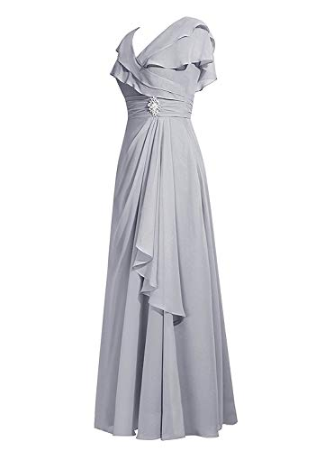Mother ASBridal Dress Long Evening Bridesmaid Womens Cap Ruffles Red Sleeves Chiffon q8Sw7qZ