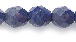 Preciosa Czech Fire 8 mm Faceted Round Polished Glass Bead, Opaque Deep Navy Blue, 50-Pack - Navy Blue Beads