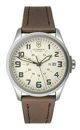 Victorinox-Vintage-GMT-Beige-Dial-Stainless-Steel-Brown-Leather-Mens-Watch-249049