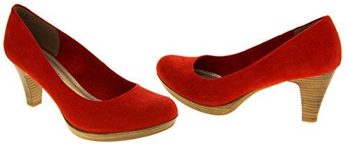 Mujer Marco Tozzi zapatos del faux del ante de los talones medios Rojo