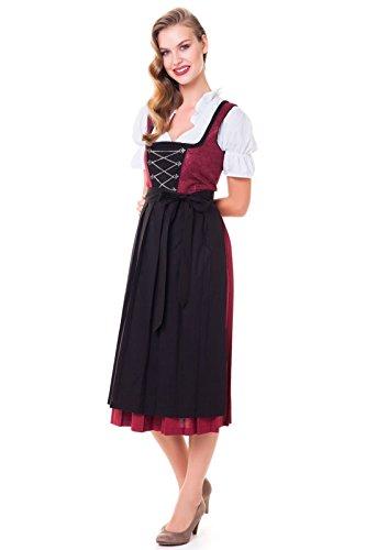 Alpenmärchen 3tlg. Dirndl-Set - Trachtenkleid, Bluse, Schürze, Gr. 52, rot-schwarz - ALM1000