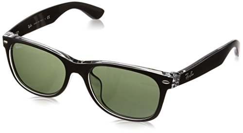 Ray-Ban RB2132F New Wayfarer Asian Fit Sunglasses, Black On Transparent/Green, 55 ()