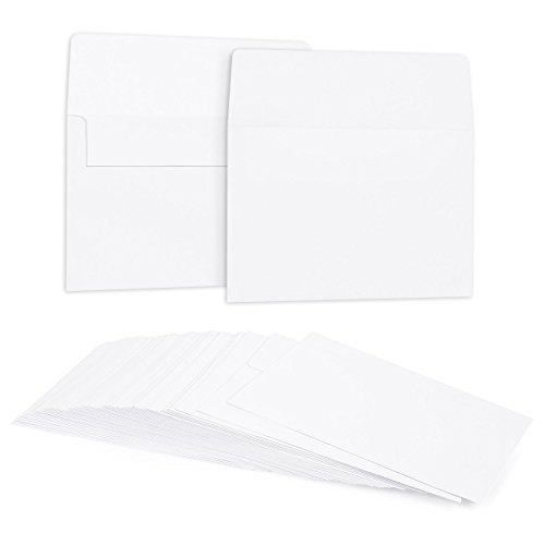 50 Pack Bright White Color A7 Envelopes for 5 x 7 Greeting Cards and Invitation Announcements - Value Pack Square Flap Envelopes - 5.25 x 7.25 Inches - 50 Count
