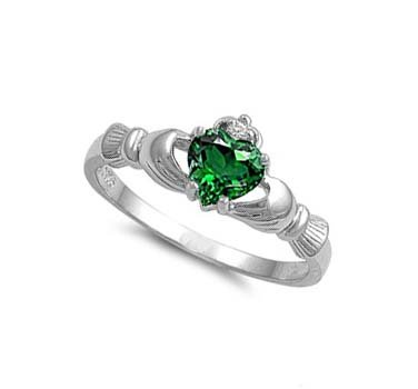 ALL NATURAL GENUINE - 9MM 2ctw Sterling Silver MAY GREEN EMERALD HEART BIRTHSTONE Royal Claddagh Celtic Irish Ring-SIZE 2-13 (.925 Italian Sterling Silver, 10)