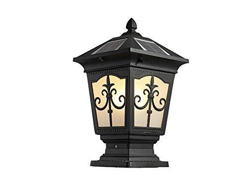 KKCHINA lights Retro Black Outdoor Solar Powered Post Light Garden Super Bright Universal E27 Fence Aluminum Glass Lampshade Waterproof IP55 Villa Solar Pillar Lantern Door Column Lamp