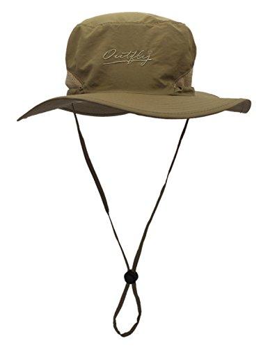 侵入有害日よけ帽 つば広 帽子 サファリハット 折り畳み 男女兼用 ハット アウトドア 登山 釣り スポーツ サイズ調整可能 56cm-60cm カーキ