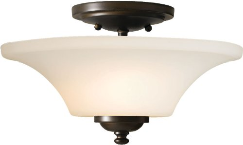 Murray Feiss Bronze Ceiling Light - Feiss SF240ORB Barrington Glass Semi Flush Ceiling Lighting, Bronze, 2-Light (13