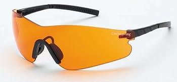 12 Pack Crossfire 30219AF Blade Frameless Safety Glasses Orange Lens - Black Temple