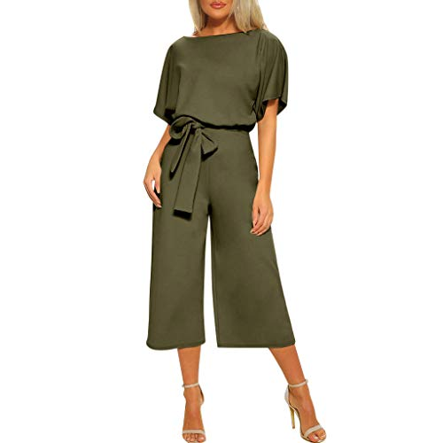 - Casual Jumpsuits for Women,WANQUIY Elegant Short Sleeve Jumpsuit Tops Wide Leg Pant Rompers with Belt Army Green