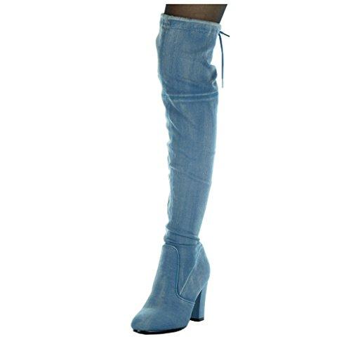 Moda Blu Scarpe Angkorly Da Jeans Stivali Blocco Flessibile Alti Tacco Cavalier Donna Cm 8 Alto A Denim 5 EfUqnpUT