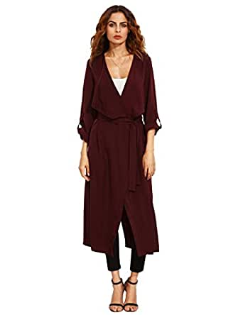 Verdusa Women's Long Sleeve Wrap Trench Coat Belted Lightweight Duster Coat Burgundy XS