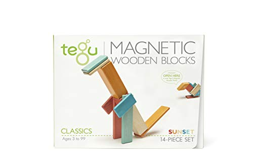 14 Piece Tegu Magnetic Wooden Block Set, Sunset ()