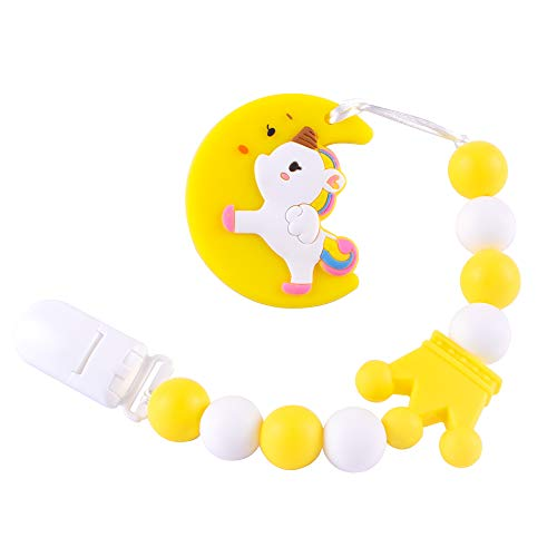 Baby Teething Toys BPA Free Silicone Teether Pain Relief Toy with Pacifier Clip Holder Set for Baby Girls Boys Infant Newborn Baby Shower Birthday Christmas (Yellow)